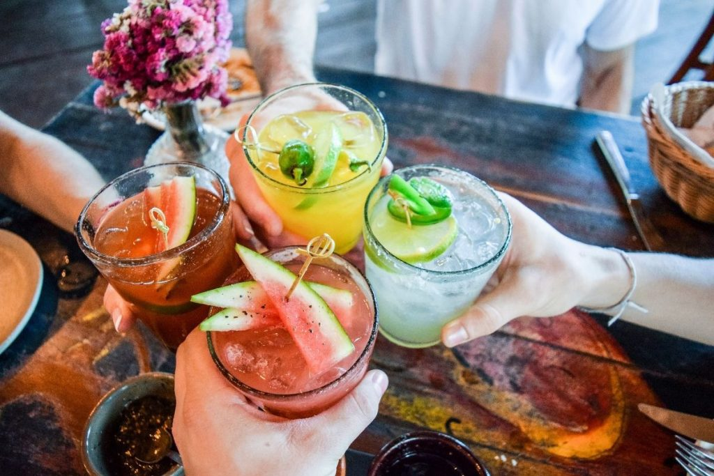 Nightlife in Cancun with cocktails