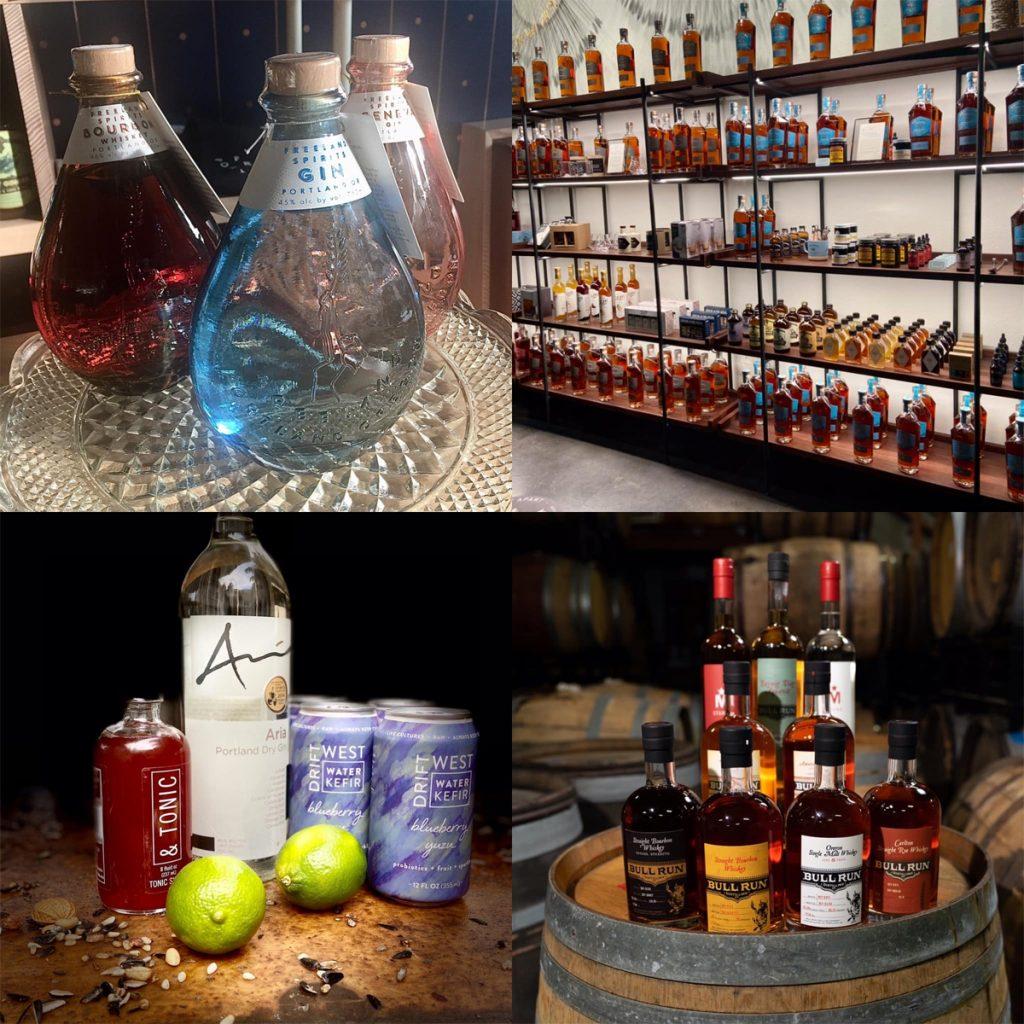 Freeland Spirits, Westward Whiskey, Aria Gin, Bull Run Distllery, photo credit: MRG (first three photos; Bull Run Distillery