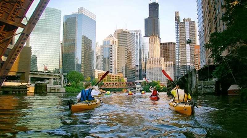 Kayak on Chicago River