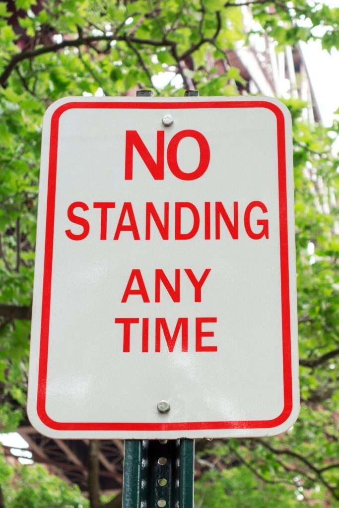 No Standing Any Time Road Sign